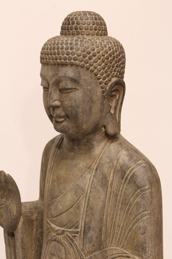 Chinese life size stone carved standing Buddha - 10