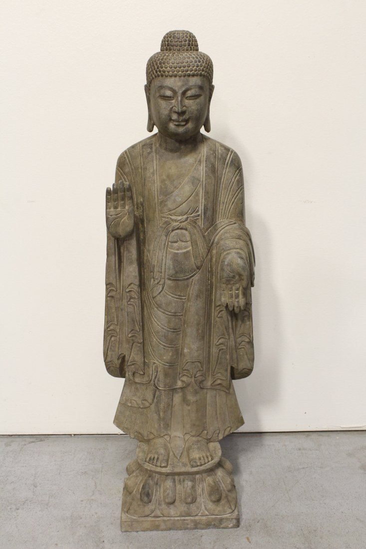Chinese life size stone carved standing Buddha