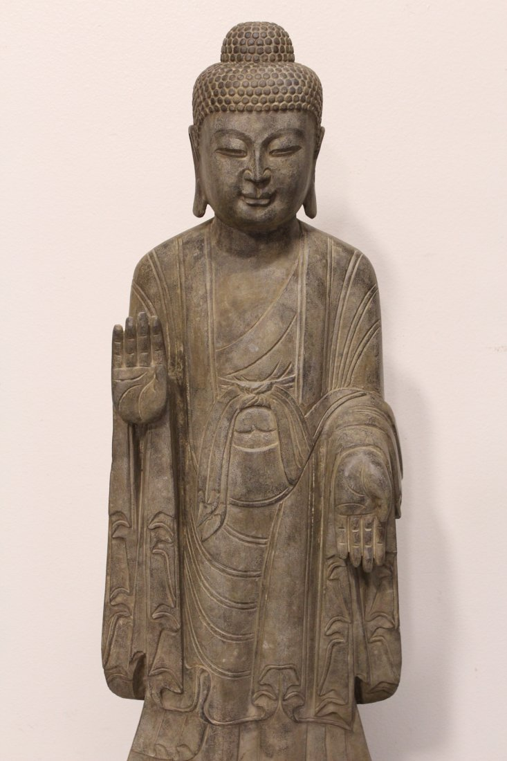 Chinese life size stone carved standing Buddha - 2