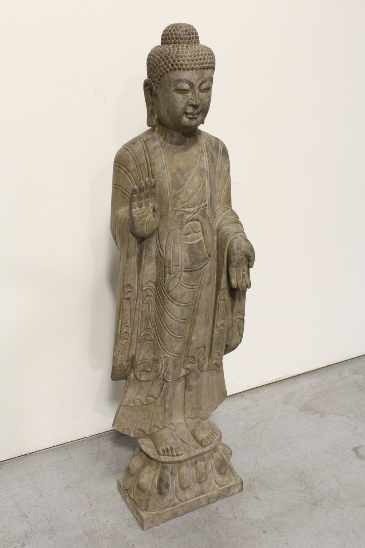 Chinese life size stone carved standing Buddha - 6