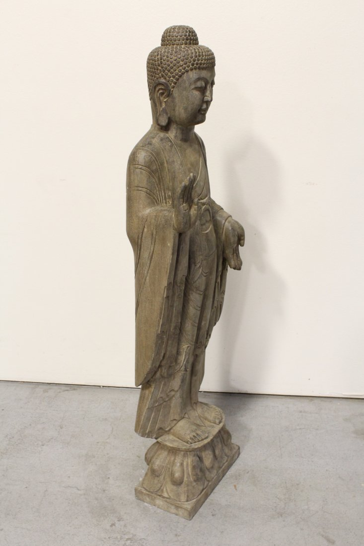 Chinese life size stone carved standing Buddha - 7