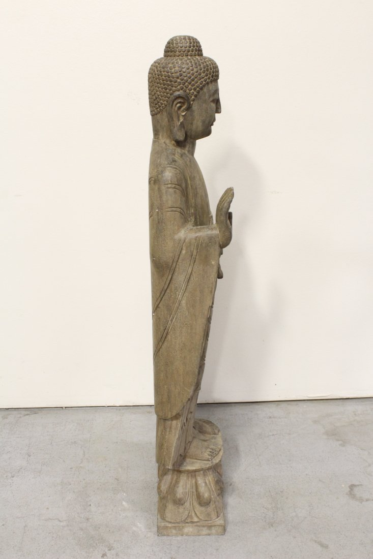 Chinese life size stone carved standing Buddha - 8