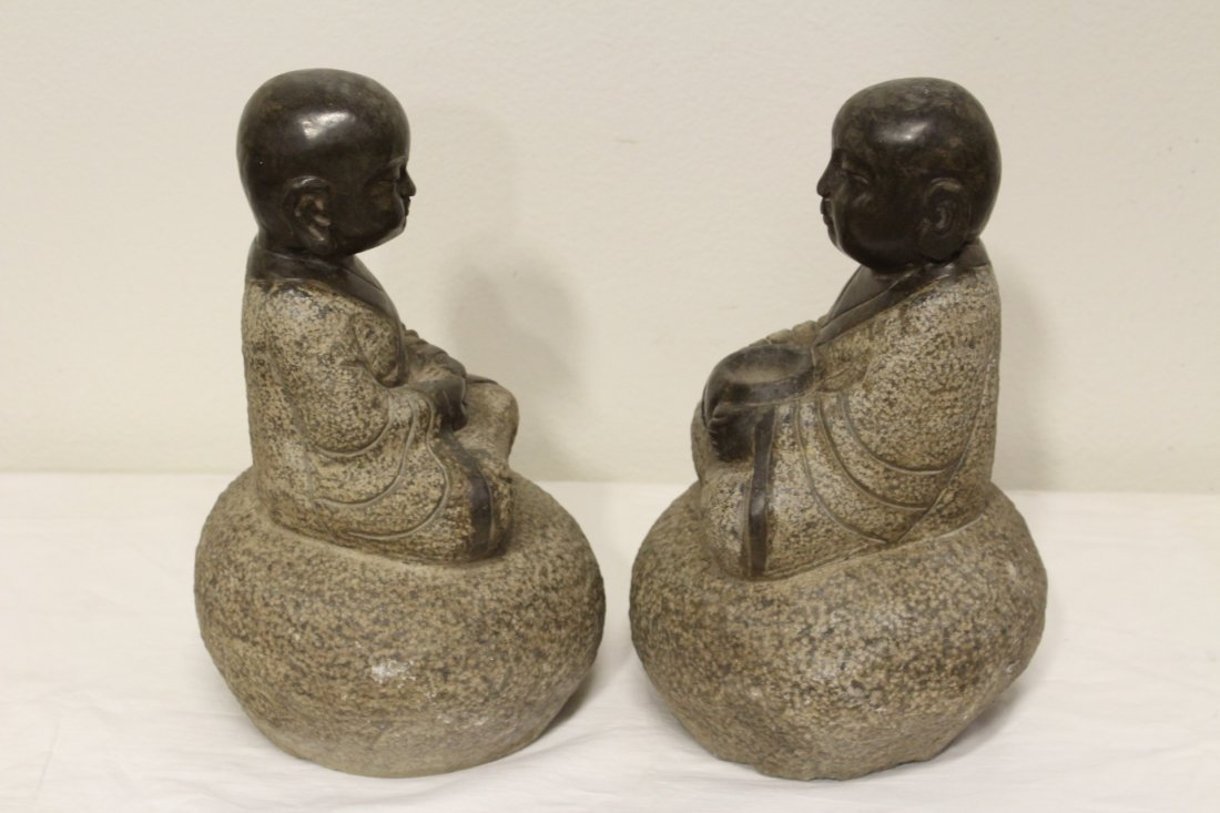 Pair Chinese stone carvings - 3