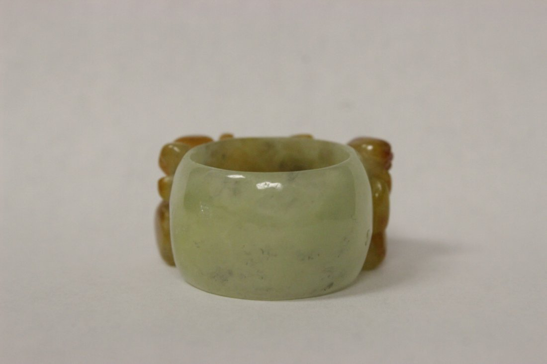 Chinese natural color jadeite bangle ring - 2