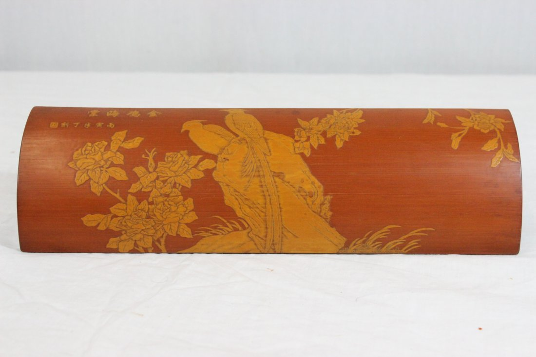 Chinese bamboo carved armrest - 2