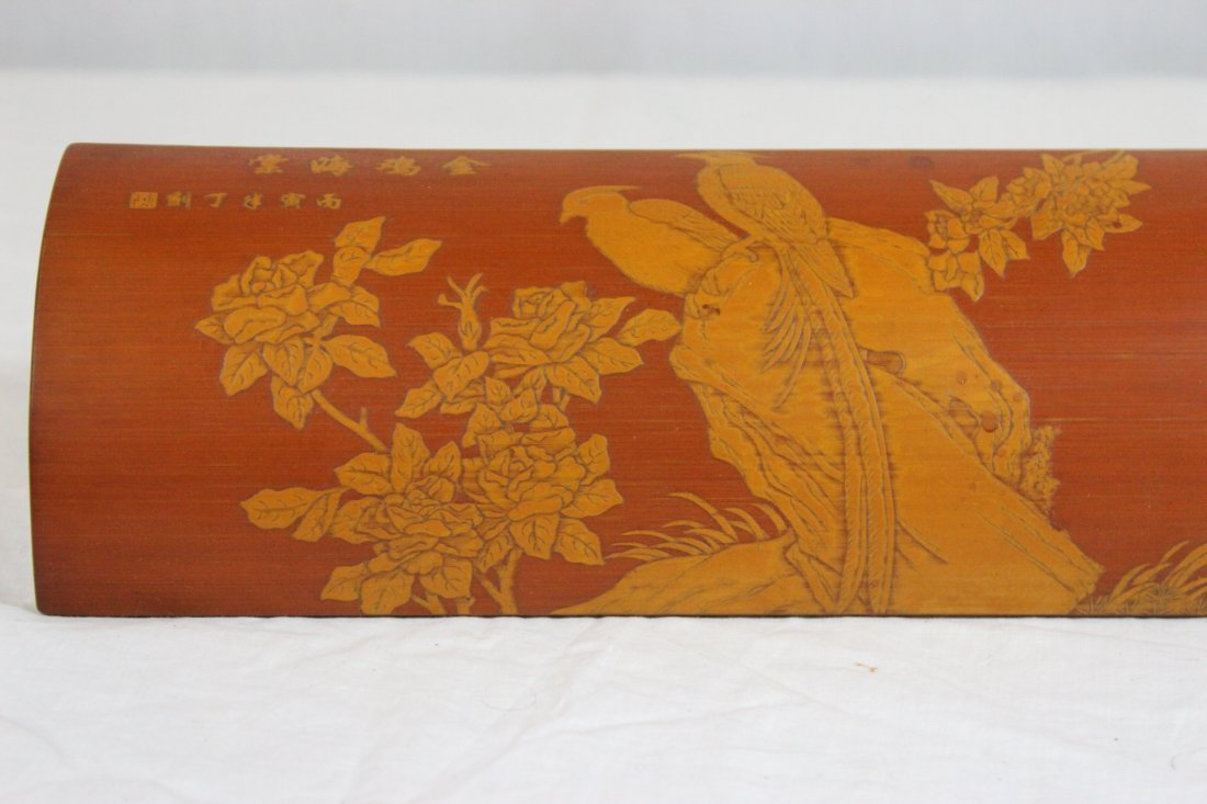 Chinese bamboo carved armrest - 3