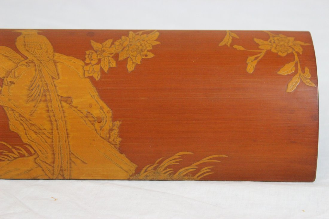 Chinese bamboo carved armrest - 4