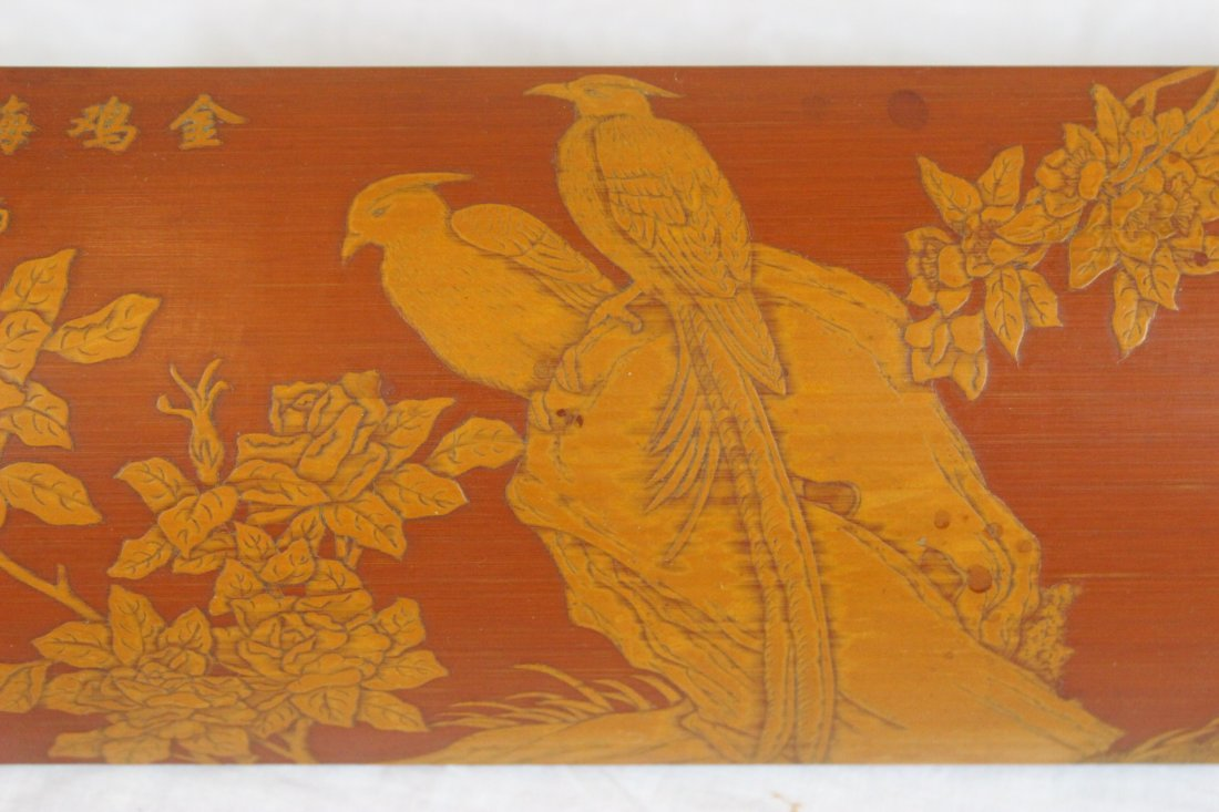 Chinese bamboo carved armrest - 5