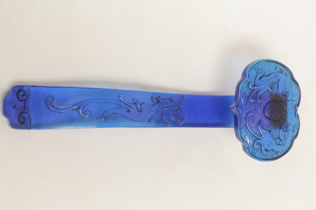 Chinese blue Peking glass ruyi - 4