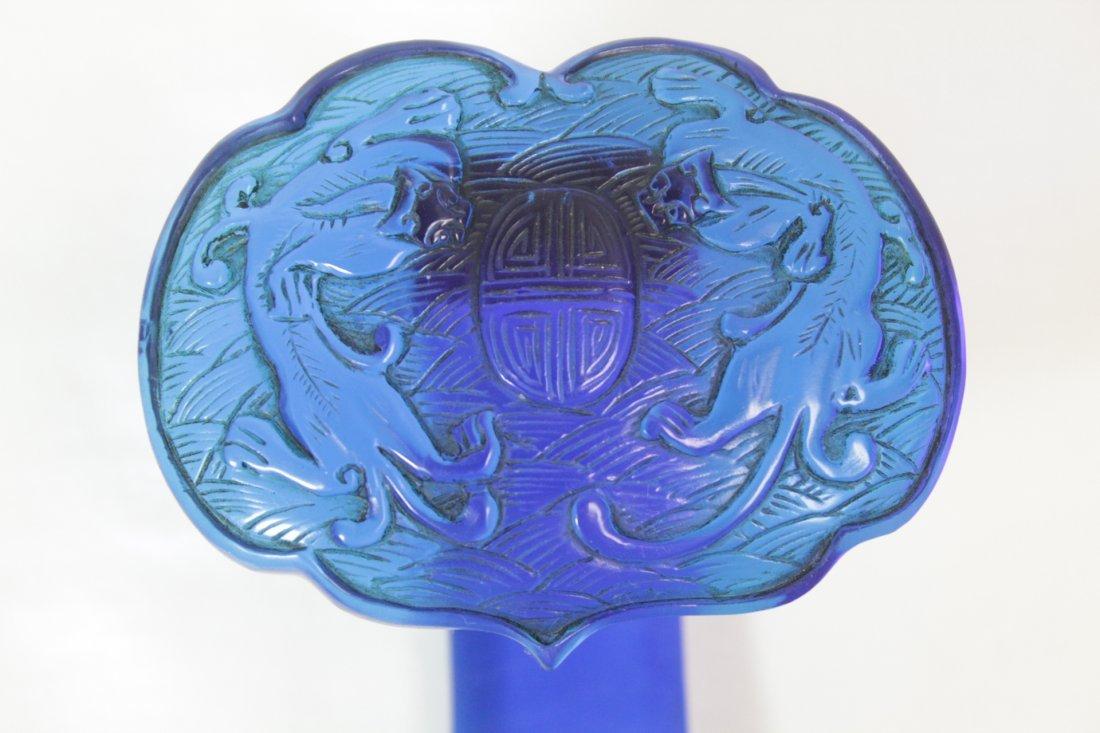 Chinese blue Peking glass ruyi - 6
