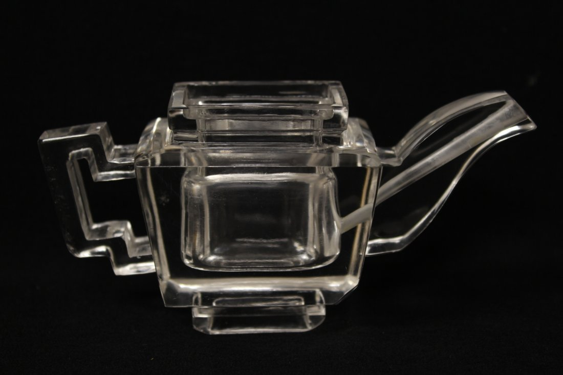 Chinese antique rock crystal carved teapot - 4