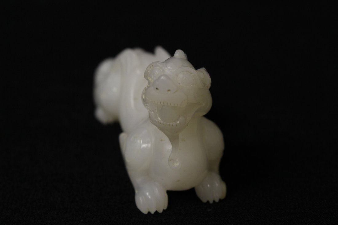 Chinese light celadon jade carving depicting qilin - 8