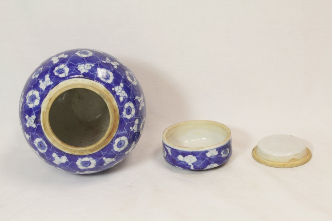 Chinese 19th c. blue & white covered jar - 4