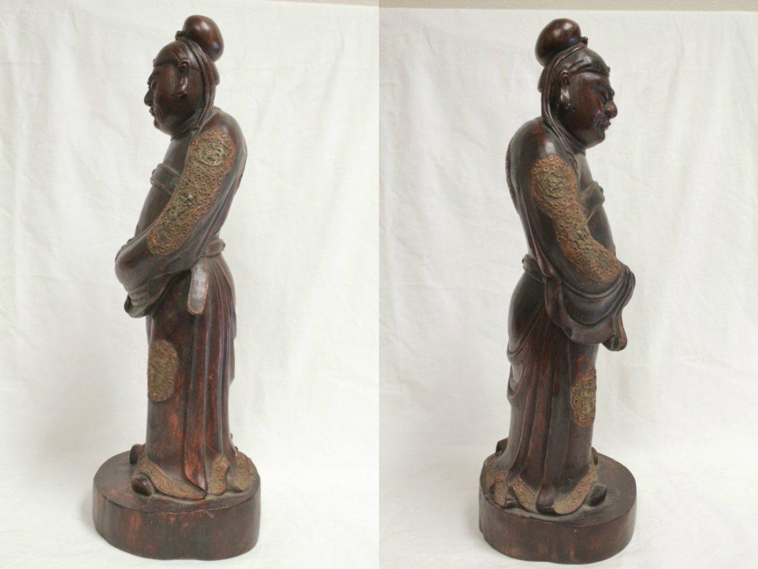 rosewood carved Daoism god - 2