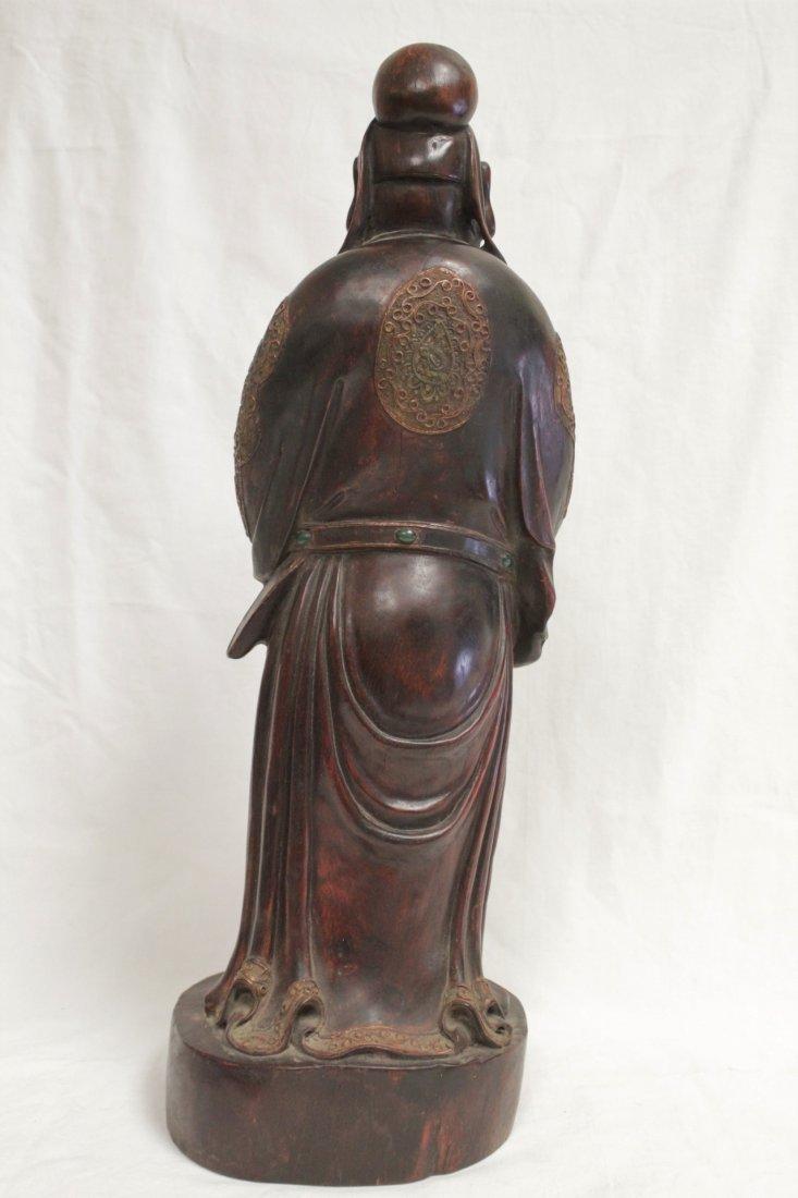 rosewood carved Daoism god - 3