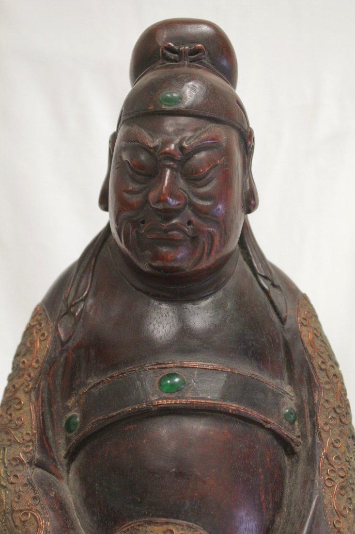 rosewood carved Daoism god - 5