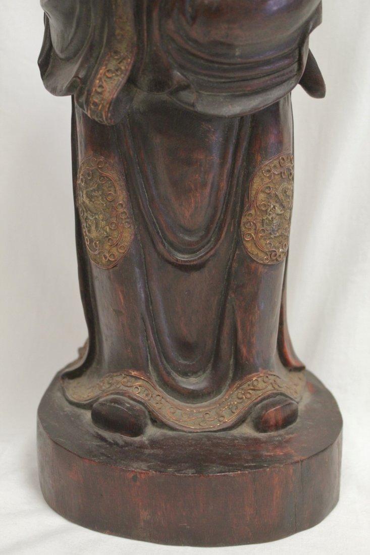 rosewood carved Daoism god - 7