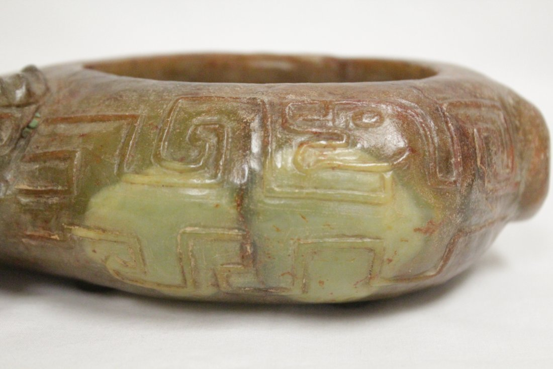 Chinese jade carved box in buffalo motif - 10