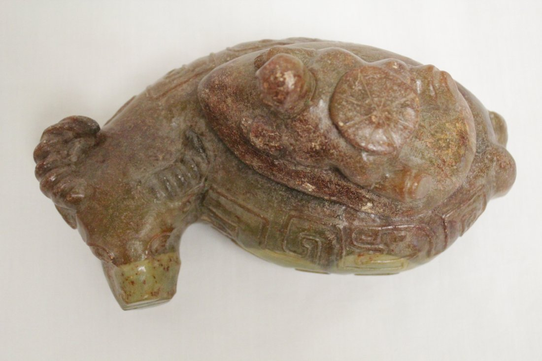 Chinese jade carved box in buffalo motif - 5
