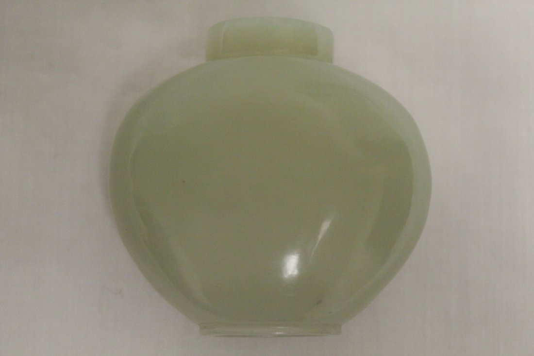 Chinese antique celadon jade carved snuff bottle - 10
