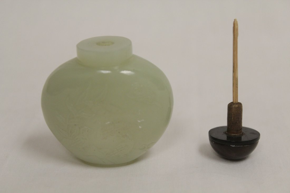 Chinese antique celadon jade carved snuff bottle - 5