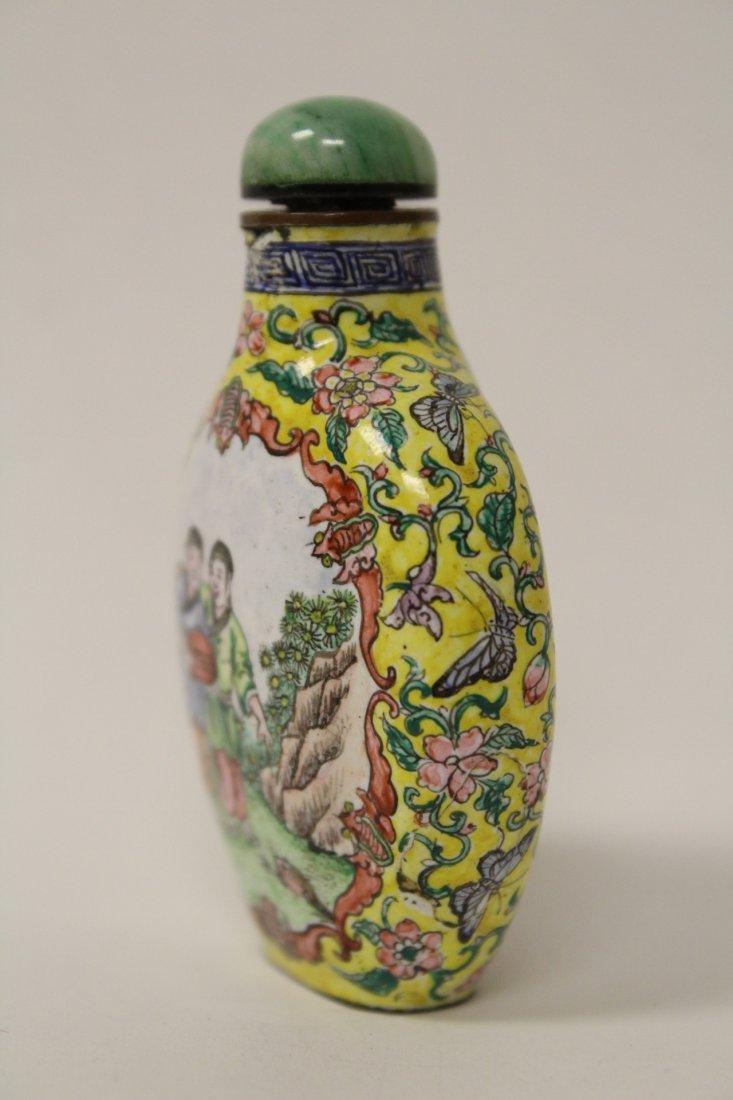 Chinese enamel on copper snuff bottle - 3