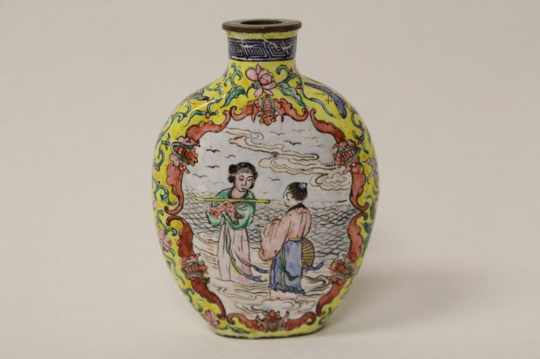 Chinese enamel on copper snuff bottle - 4