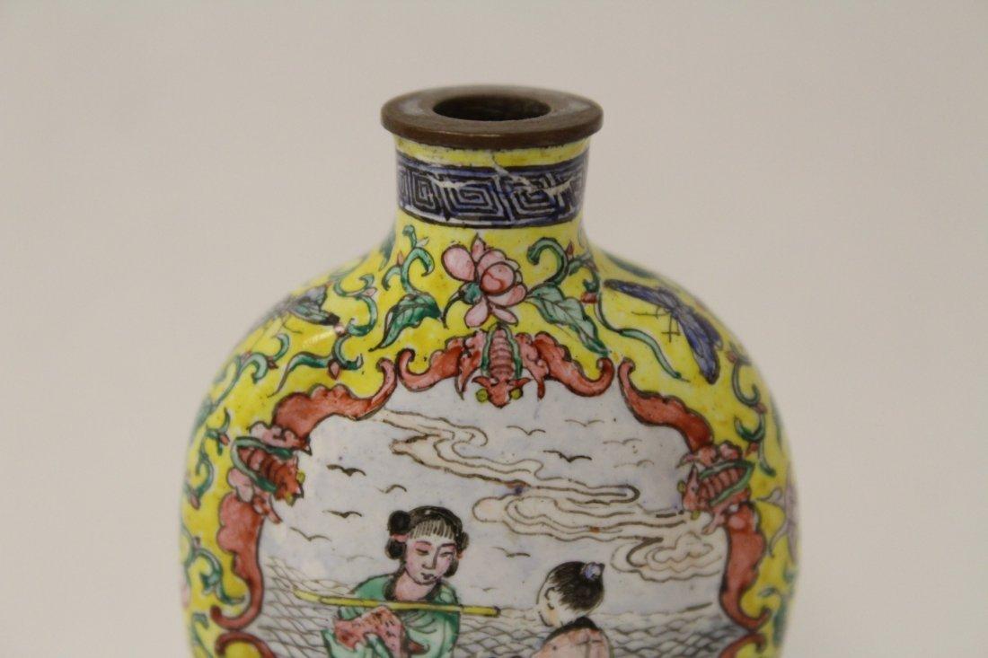 Chinese enamel on copper snuff bottle - 6