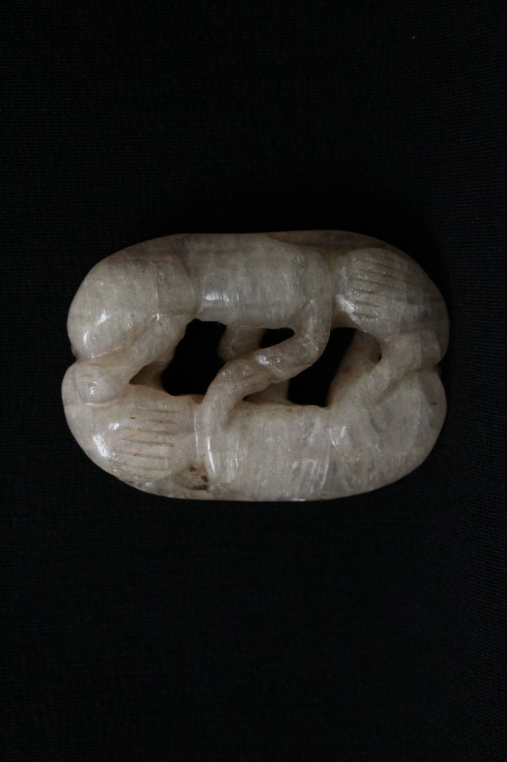 Chinese rock crystal carving depicting 2 cats - 4