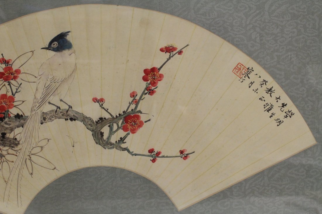 Framed watercolor on fan face - 4