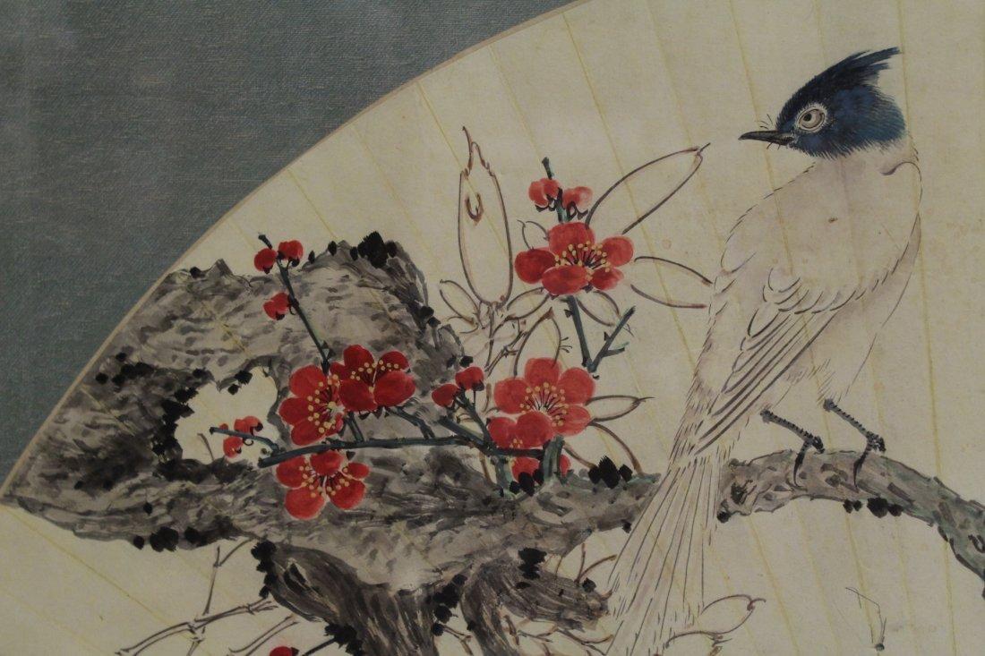 Framed watercolor on fan face - 6