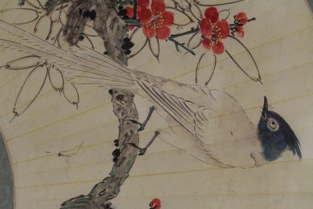 Framed watercolor on fan face - 7