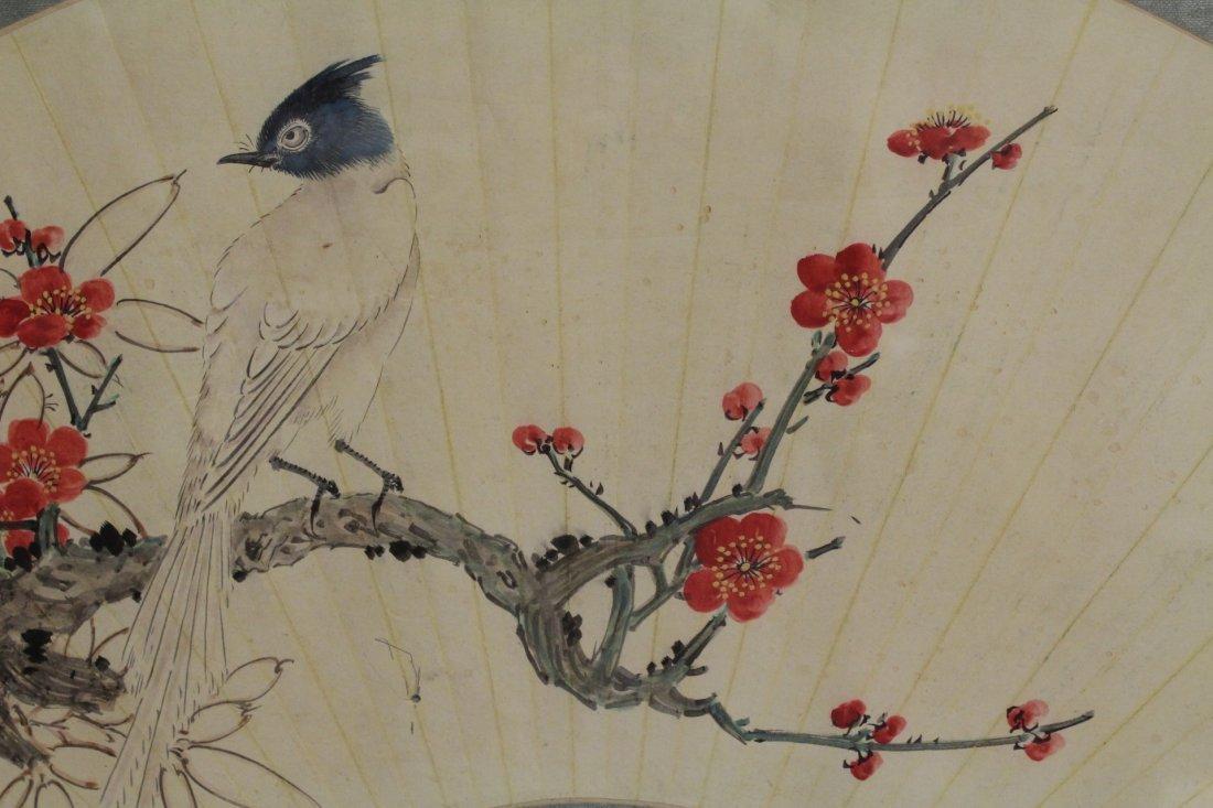 Framed watercolor on fan face - 9