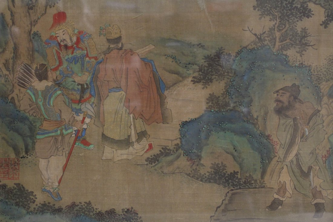 framed Chinese antique watercolor on silk - 3