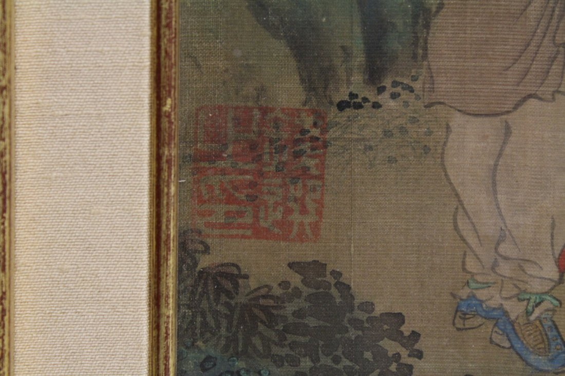 framed Chinese antique watercolor on silk - 4