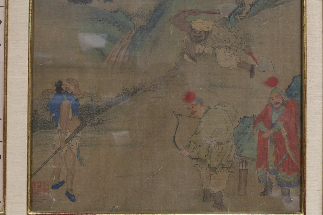 framed Chinese antique watercolor on silk - 9