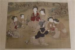 Chinese unframed watercolor on silk panel