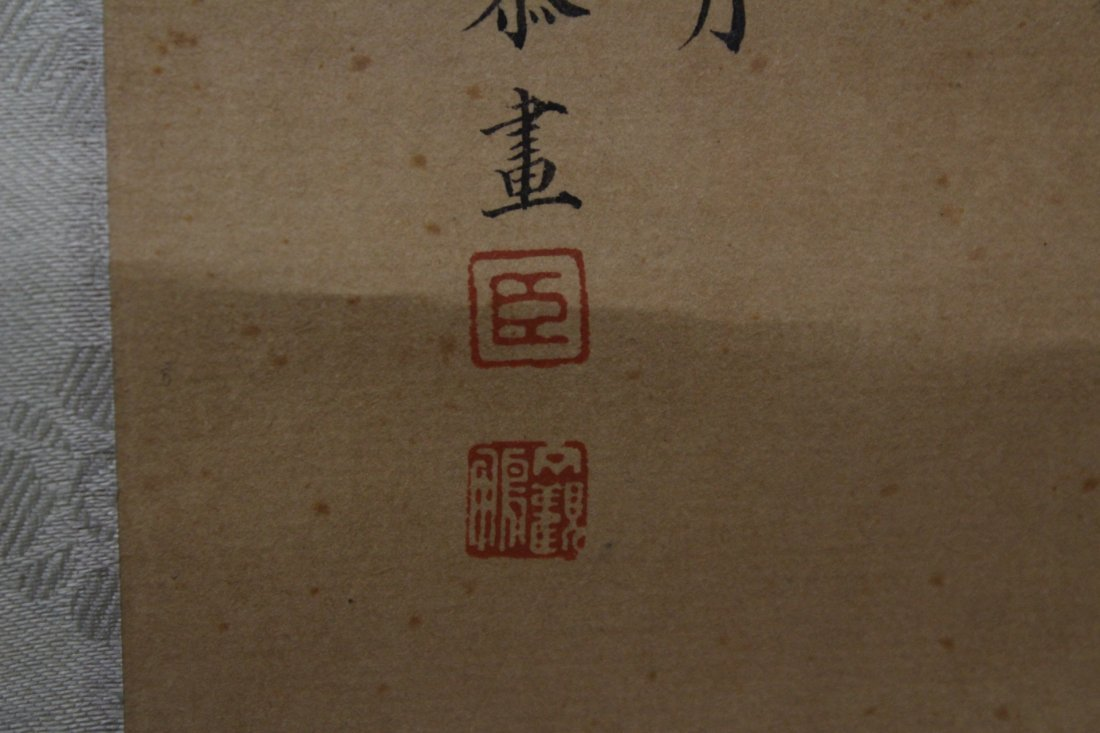 Chinese watercolor on silk scroll - 10