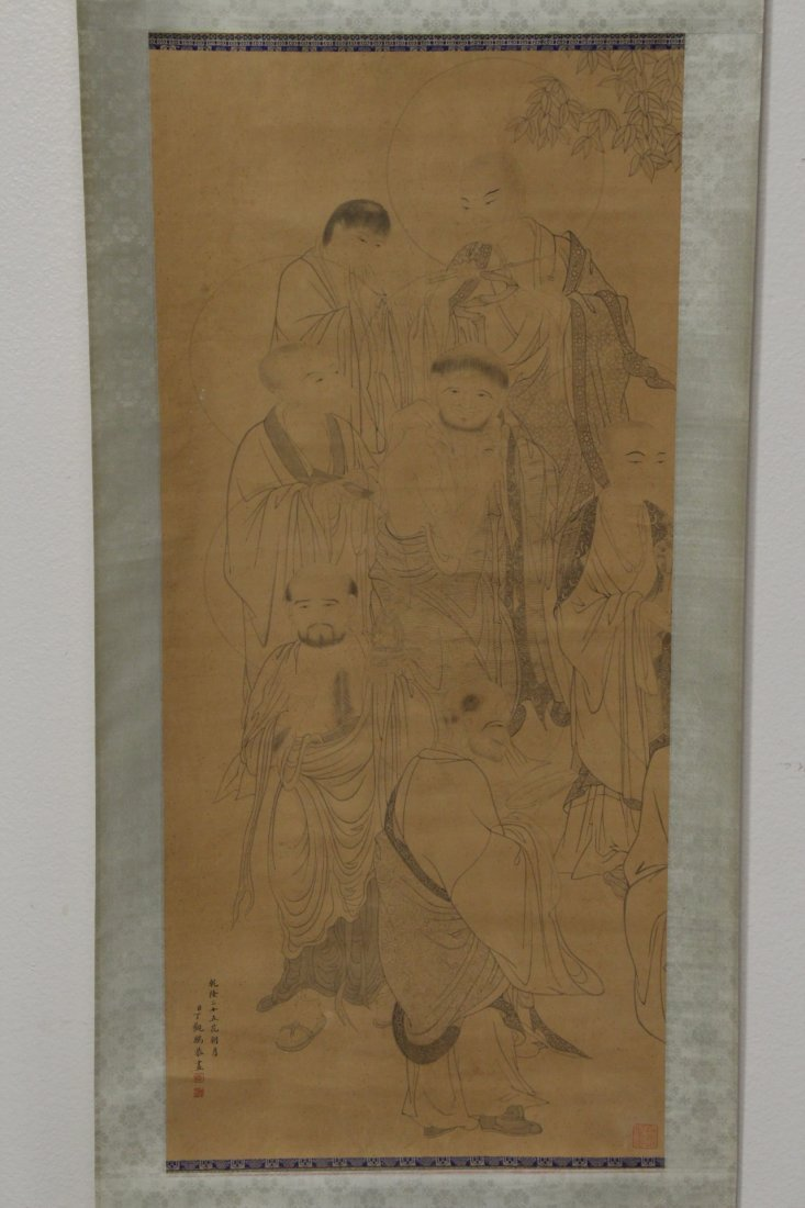 Chinese watercolor on silk scroll