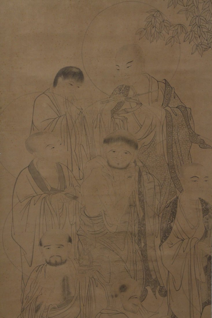 Chinese watercolor on silk scroll - 3