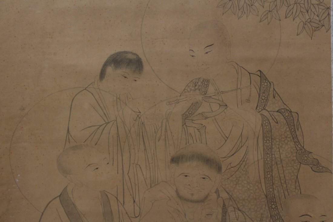 Chinese watercolor on silk scroll - 5