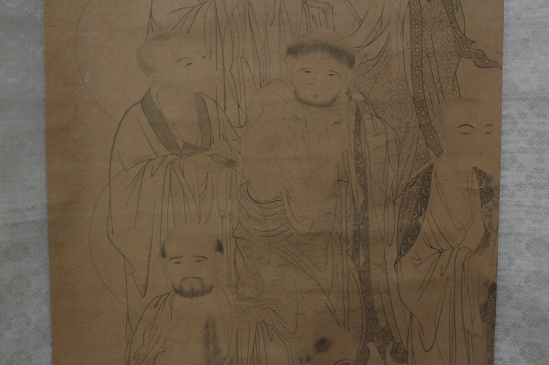 Chinese watercolor on silk scroll - 6
