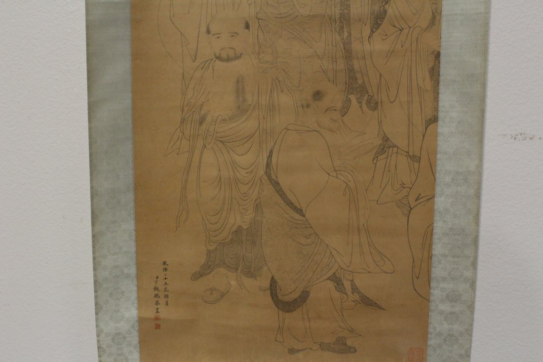 Chinese watercolor on silk scroll - 7