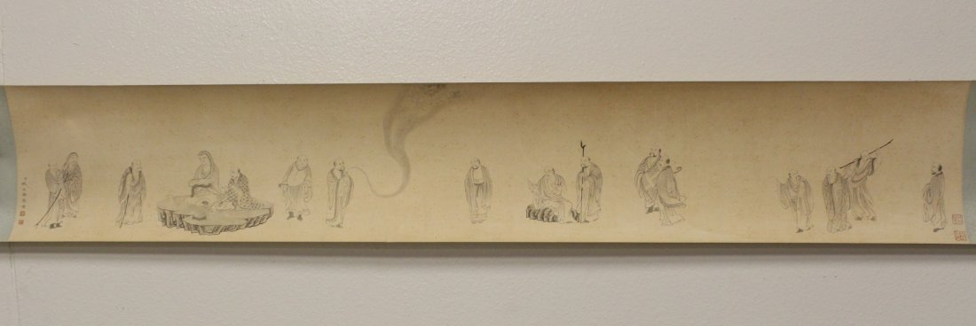 Chinese watercolor hand scroll depicting 16 Lohan - 5