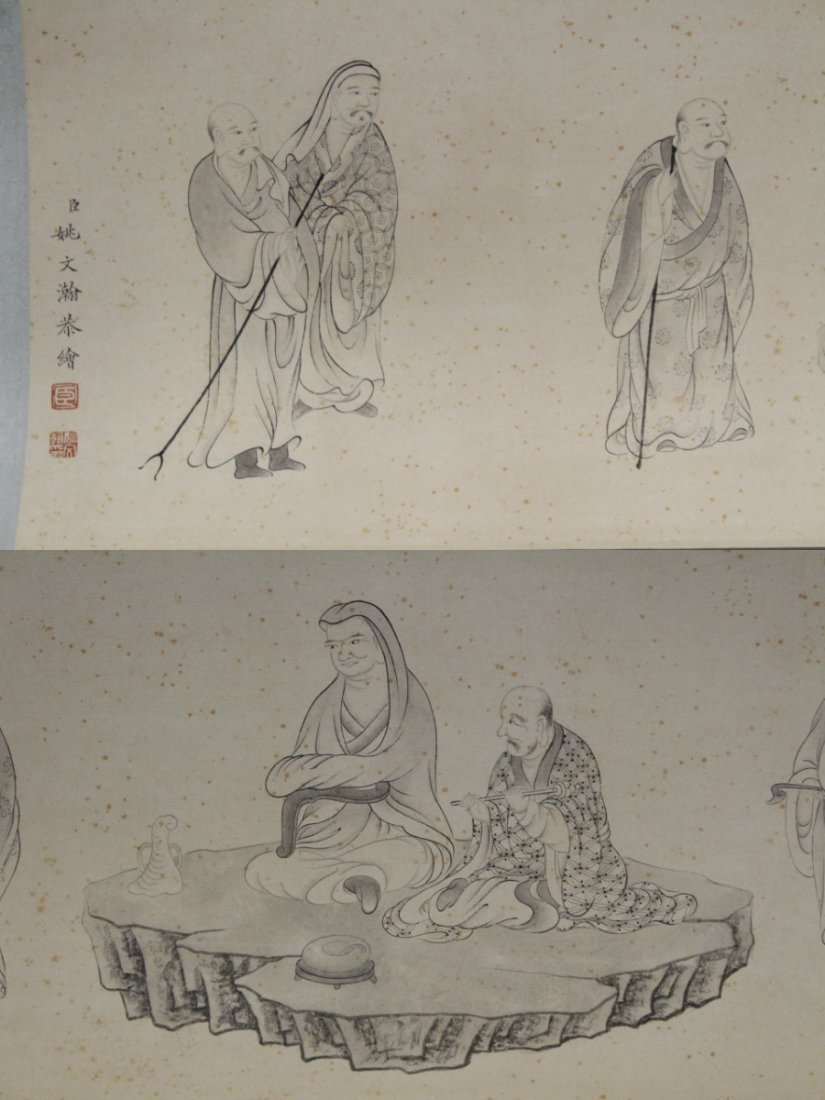 Chinese watercolor hand scroll depicting 16 Lohan - 6