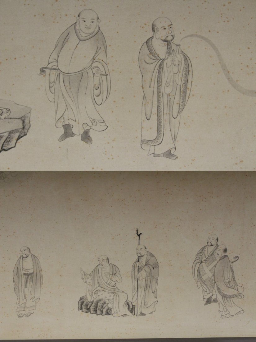 Chinese watercolor hand scroll depicting 16 Lohan - 7