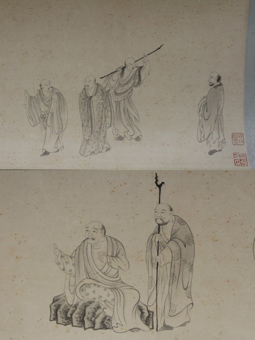 Chinese watercolor hand scroll depicting 16 Lohan - 8