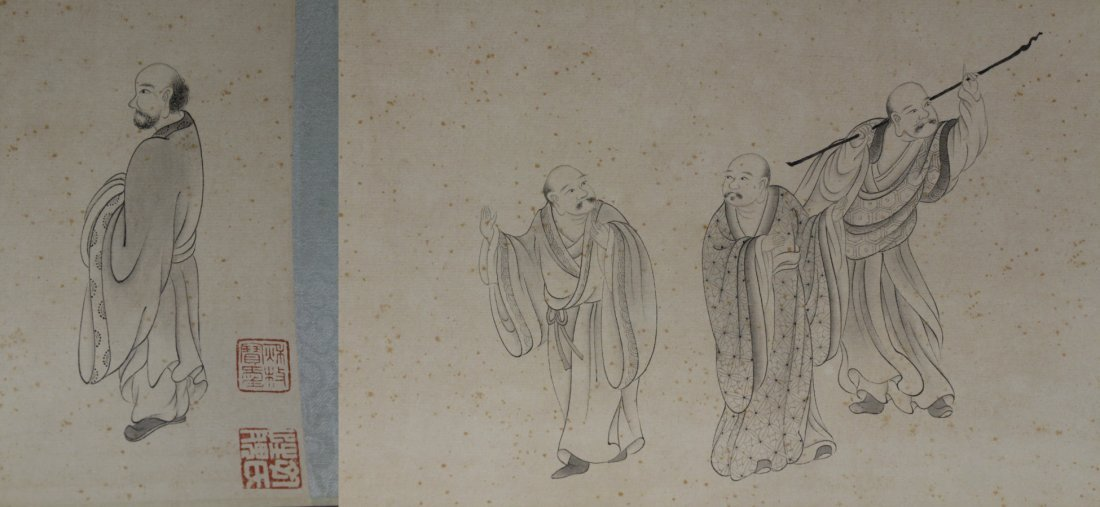 Chinese watercolor hand scroll depicting 16 Lohan - 9