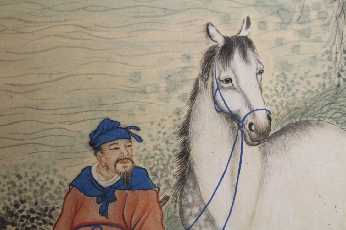Chinese unframed watercolor panel - 10