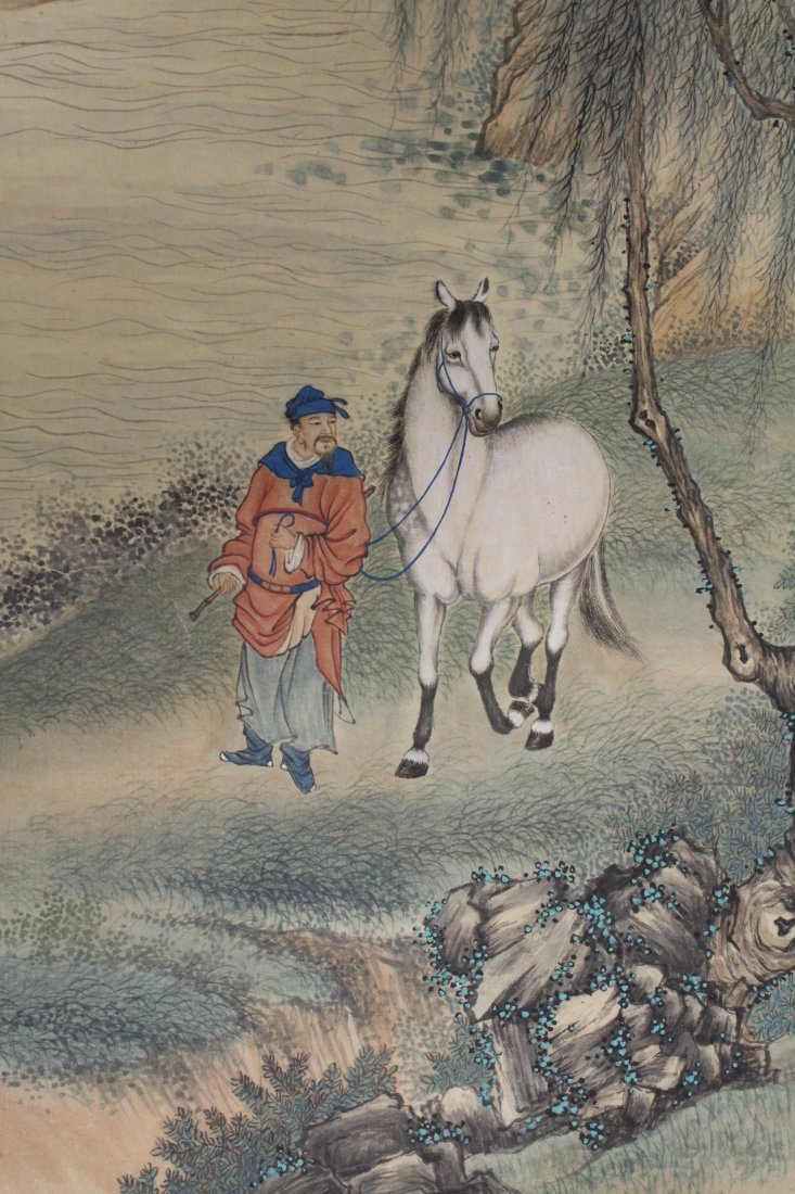 Chinese unframed watercolor panel - 6